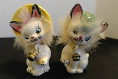 Vintage Commodore Cats in Hats w/ Real Fur & Bells Salt & Pepper Shakers
