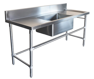 2200x600mm COMMERCIAL SINGLE MIDDLE BOWL KITCHEN SINK STAINLESS STEEL BENCH E0