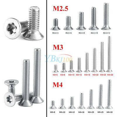 50pcs SS304 M2.5 M3 M4 Countersunk Flat Head Torx Drive Machine Screw Bolt A2-70