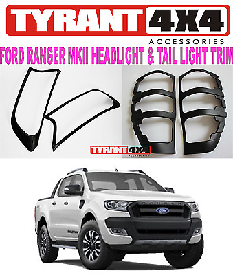 Ford Ranger MK2 MKII 2017 Black Headlight Tail Light Trims Cover Surrounds FX4