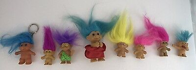 Lot of 8 small Russ troll dolls tiny, pencil topper, key chain 1990s vintage