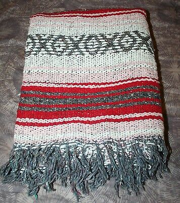 VTG Hand Woven Cotton Mexican Blanket EUC 41x57 Pink Red Grey White