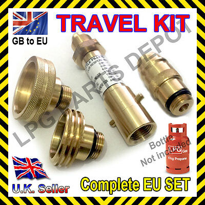LPG GPL adapter SET GB to EU gas propane bottle FRANCE GERMANY SPAIN all EUROPE
