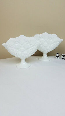 "Pair of Westmoreland Milk Glass Old Quilt Fan Vases 7"" Tall"