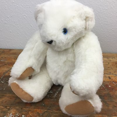 """Classic 17"""" Vermont Teddy Bear Off White Bear Blue Born in Vermont Eyes Jointed"""