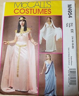 McCall's Costumes M4954 Size EE 14-16-18-20 Dress with Cape Godet, Wrap, Sash