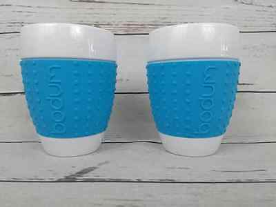 """BODUM PAVINA Porcelain Cups 4-1/2"""" Tall with Silicone Grips Set of 2 Blue"""