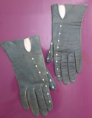 Gorgeous green leather vintage gloves with cream embroidery