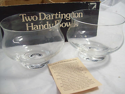 Vintage Dartington Glass Two small Handy Bowls by Frank Thrower in original box