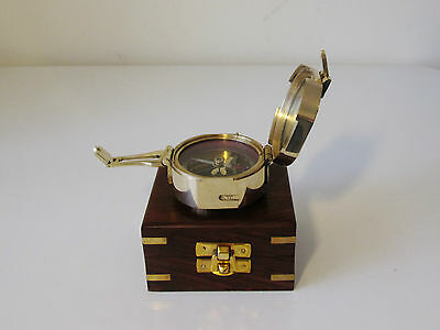 Brass WW1 Ships Nautical Marine Pocket Compass In Fitted Rosewood Case - Working