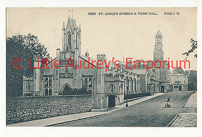 Old Postcard Ryde St James Church & Town Hall Unposted c1920 AL207