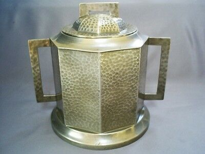 FINE 1930s VINTAGE ART DECO CRAFTSMAN/SHEFFIELD LARGE PLANISHED PEWTER TEA CADDY