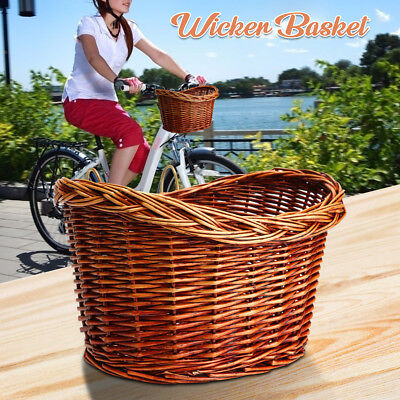 Trendy Style Brown Willow Wicker Bicycle Bike Front Basket With Straps AUFT