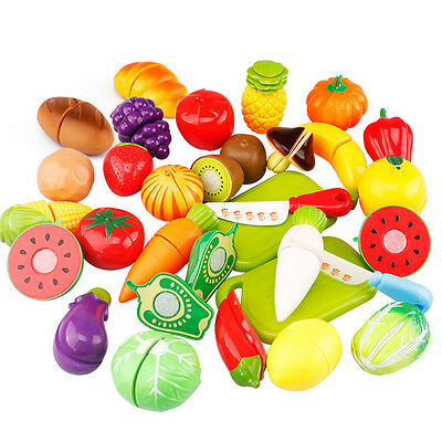Role Play Food Cutting Toy Gift Child Education Shopping Fruits Vegetable Basket
