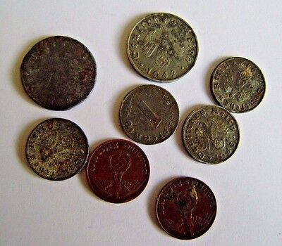 WW2 German Military Nazi Germany War Swastika 8 Coins Vintage 1&10 F 1937/1942