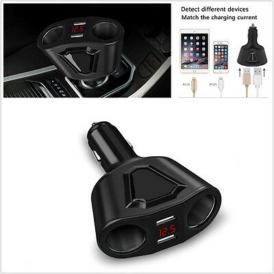 3.1A Car Cigarette Lighter Socket DC12V Dual USB Charger Power Adapter Voltmeter