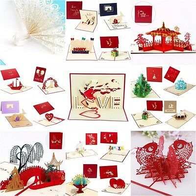 BIRTHDAY * ANNIVERSARY * WEDDING * Pop Up Cards 3D and Greeting Cards Invitation
