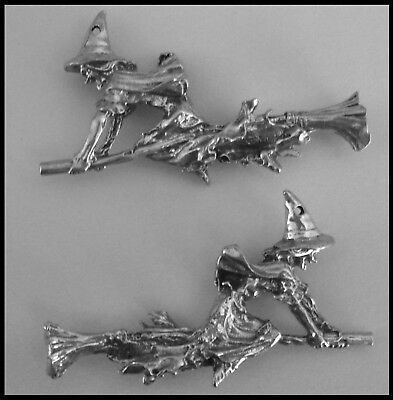 PEWTER CHARM #336 WITCH ON BROOM 54mm x 34mm 1 hole 3D double sided