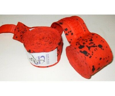 WWMA Pro Series hand wraps 5m long red and black ELACTIC