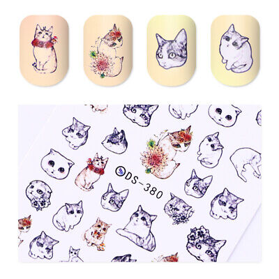 Nail Art Water Transfer Decals Manicure Stickers Decor Lovely Cat Design Tips