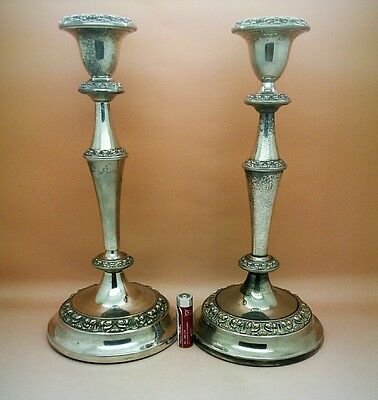 Beautiful Antique Georgian Style Silver Plated Candlesticks By Ianthe Of England