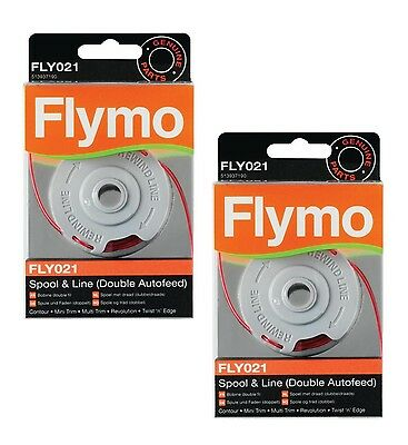 2x Genuine Flymo Contour 500 XT Double Autofeed Strimmer Trimmer Spool & Line