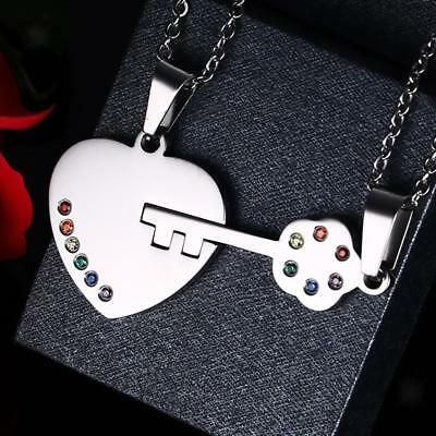 Stainless Steel Love Heart Key Pendant Couple Rainbow Gay Leisbian Necklace