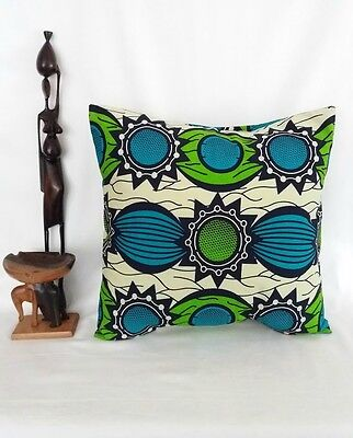"Handmade African Print/Wax Cotton/Ankara Cushion Cover For 16"" Squared Cushions"