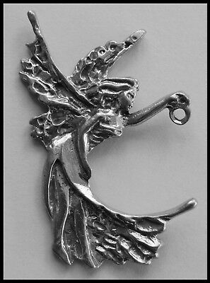 PEWTER CHARM #407 FAIRY 40mm x 60mm 1 hole & 1 bail to hold drop / pendant