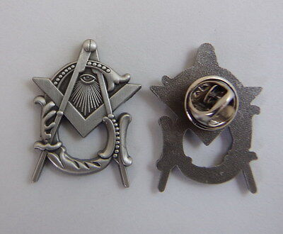 Masonic Lapel Pins Badge Mason Freemason Antique Silver Style B21