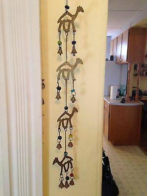 """Vintage Brass Camels And Bell Wall Hanger, Indian Or Egyptian, 23"""" Long"""