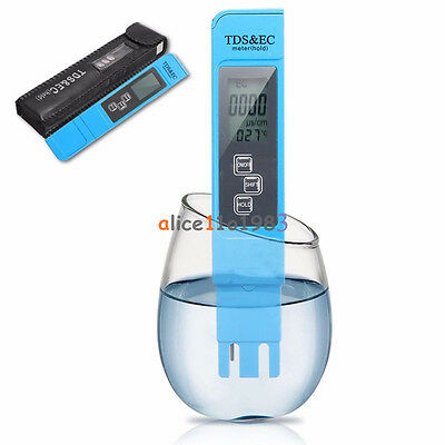 Blue EC-1  Water Quality Test Meter Digital Tool TDS&EC Temperature 0-9990 ppm