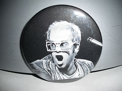 "Young Famous Classic Early Years Elton John Live 2.25"" B&w Pin Back Badge Button"