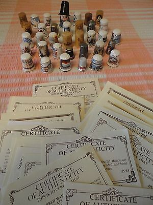 35 Pewter  wood and China Collectors Thimbles with certificates Collectors Guild