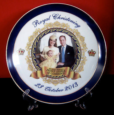 Prince George Christening Plate with Parents - Box and Stand