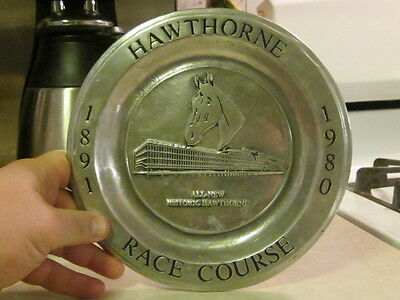 vintage 1980 Hawthorne Race Course cast aluminum display plate