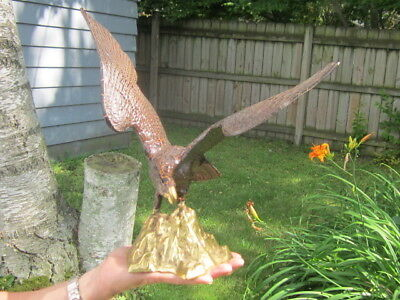 """Large Brass Eagle Statue 16"""" Wingspan"""