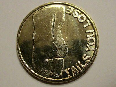 EROTIC MALE HEADS vs. TAILS COIN TOKEN MEDAL MEDALLION SPINNER CHIP FLIP FOB