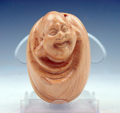 Boxwood Hand Carved Netsuke Sculpture Miniature Laughing Buddha MI-LE #06011701