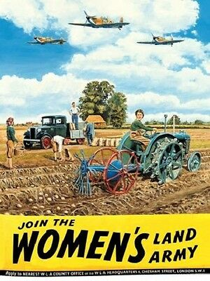 New 15x20cm Women's Land Army & Spitfire WW2 retro metal advertising wall sign