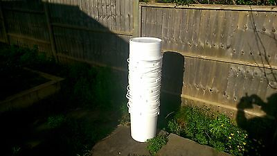 10 Food Grade 25L White Plastic Buckets With  Lids Used