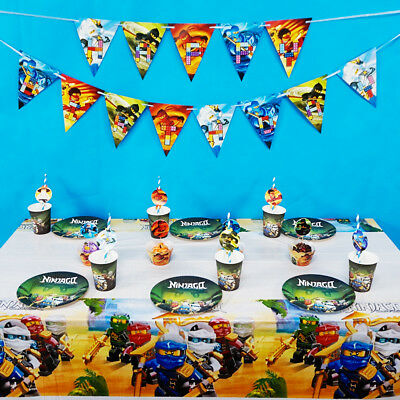 61pcs/lot For 12 Kids Ninjago Theme Birthday Party Decoration Tableware Set