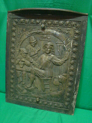 ANTIQUE unpainted 1800'S CAST IRON FIREPLACE COVER VERY ORNATE BOYS VICTORIAN