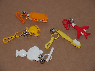 5 pc Vtg 1980's Bell Clip Charms Capsule Toys - Toothbrush, Harmonica