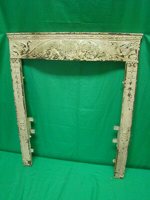 Antique Late 1800's Cast Iron Ornate Fireplace Insert Cover Frame Torch Design