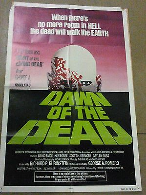 Dawn of the Dead U.S. Original One Sheet Poster Rare Green Text