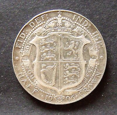 1906 Edward VII Silver Half Crown,  F+  collectable.