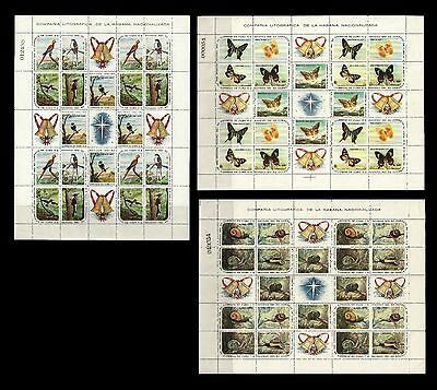 Caribbean. Snails, Birds, Butterflies. 1961. 686-700. Three Sheets MNH (BI#BX50)