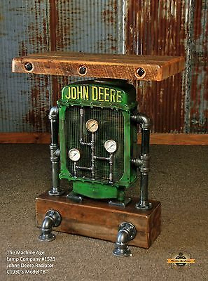 Steampunk Lamp Industrial Tractor Farm John Deere Table Stand Pub Console Wood