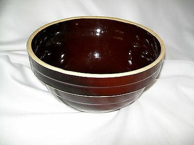 """Vintage Usa Pottery Stoneware Yellow Ware 9"""" Mixing Bowl Brown Ribbed Red Wing ?"""